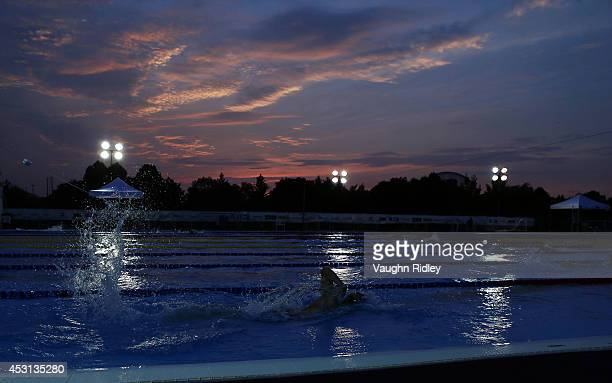 Ricardo Valdivia of the US competes in the Men's 800m Freestyle at Parc JeanDrapeau during the 15th FINA World Masters Championships on August 03...