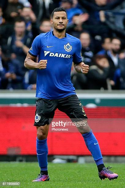 Ricardo Van Rhijn defender of Club Brugge celebrates scoring a goal pictured during Jupiler Pro League match between Club Brugge KV and KAA Gent on...