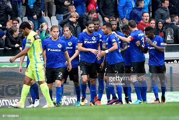 Ricardo Van Thijn defender of Club Brugge celebrates with teammates after scoring pictured during Jupiler Pro League match between Club Brugge KV and...