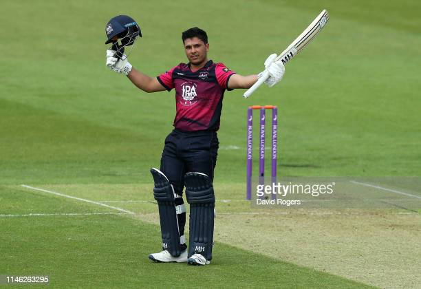 Ricardo Vasconcelos of Northamptonshire celebrates his century during the Royal London One Day Cup match between Northamptonshire and Yorkshire at...