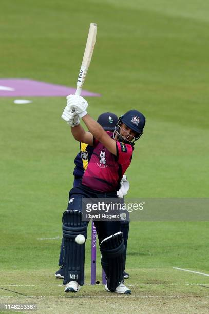 Ricardo Vasconcelos of Northamptonshire drives the ball for four runs during the Royal London One Day Cup match between Northamptonshire and...