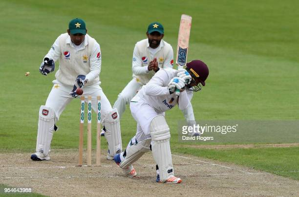 Ricardo Vasconcelos of Northamptonshire is bowled by Shadab Khan during the tour match between Northamptonshire and Pakistan at The County Ground on...