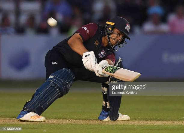 Ricardo Vasconcelos of Northamptonshire Steelbacks hits out during the Vitality Blast match between Derbyshire Falcons and Northampton Steelbacks at...