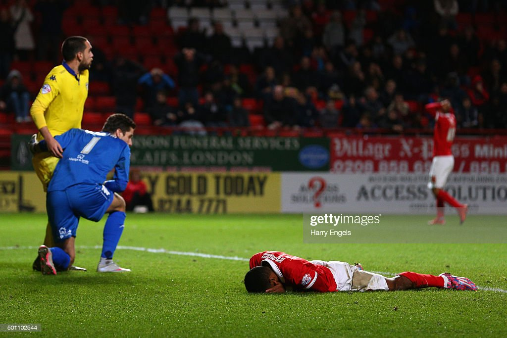 Ricardo Vaz Te of Charlton reacts after missing a chance on goal during the Sky Bet Championship match between Charlton Athletic and Leeds United at The Valley on December 12, 2015 in London, United Kingdom.