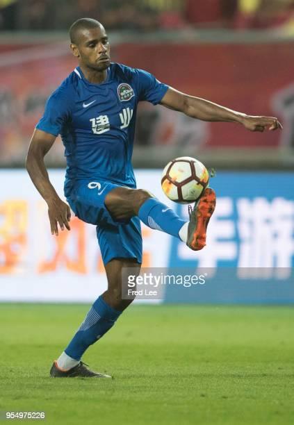 Ricardo Vaz Te of Henan Jianye in action during 2018 Chinese Super League match between Hebei China Fortune adn Henan Jianye at Langfang Sports...