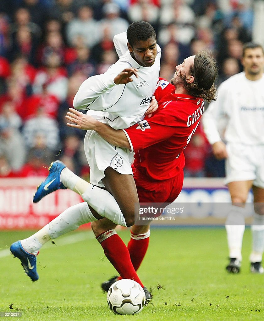 Ricardo Vazte of Bolton battles with Jonathan Greening of Boro during the FA Barclaycard Premiership match between Middlesbrough and Bolton Wanderers at The Riverside Stadium on April 3, 2004 in Middlesbrough, England.