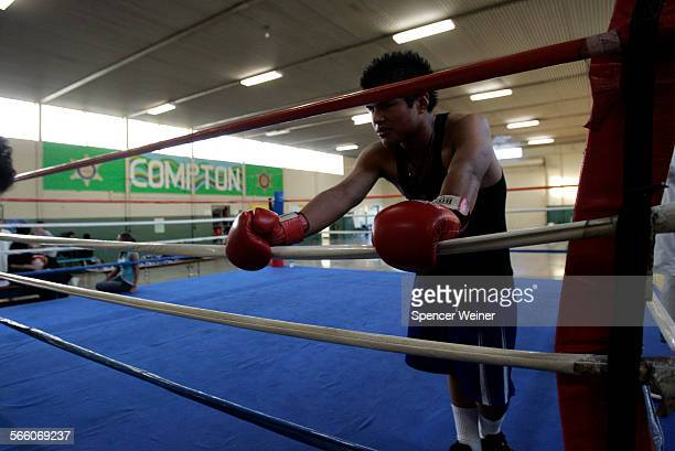 Ricardo Villeda waits for his boxing lesson at the Sheriff Department's Youth Activities Center in Compton January 20 2009 Compton where overall...