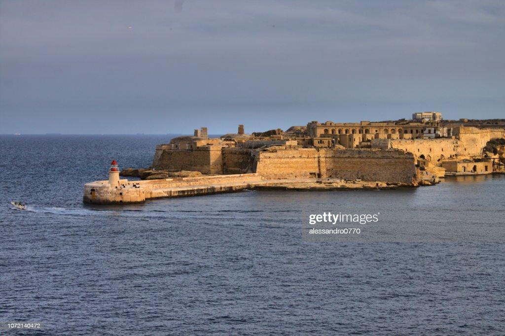 Ricasoli East Breakwater seen from Valletta : Stock Photo
