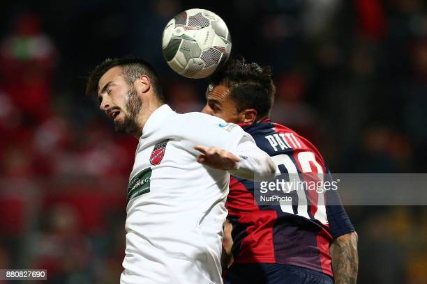Riccardo Barbuti of Teramo Calcio 1913 compete for the ball with Matteo Patti of SS Sambenedettese during the Lega Pro 17/18 group B match between...
