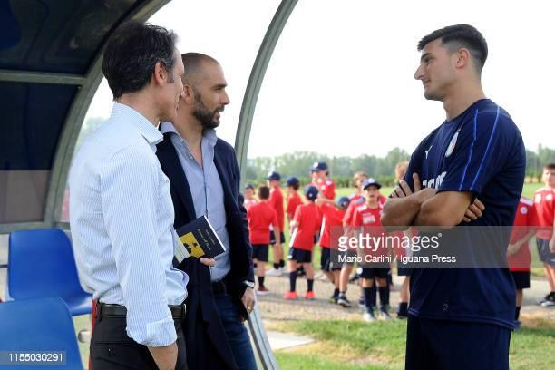 Riccardo Bigon sporting director of Bologna FC Marco Di Vaio team manager of Bologna FC and Riccardo Orsolini player of Italy U21 National Football...