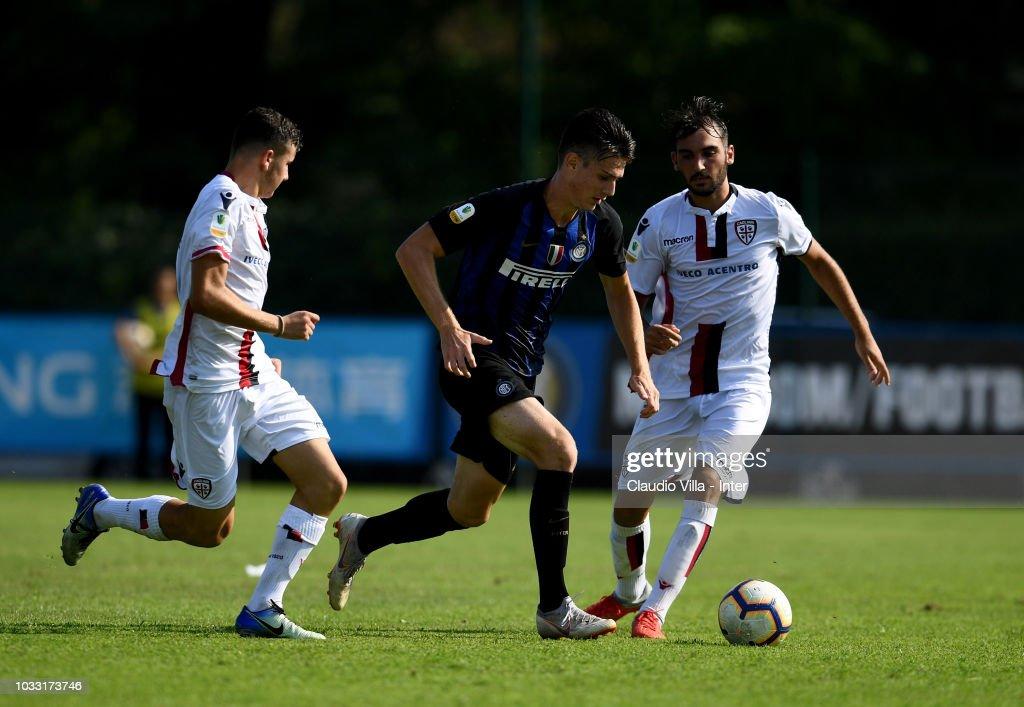 Riccardo Burgio of FC Internazionale in action during Fc internazionale U19 V Cagliari U19 match at Stadio Breda on September 14, 2018 in Sesto San Giovanni, Italy.