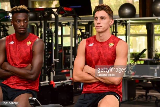 Riccardo Calafiori and Tammy Abraham during an AS Roma training session in the gym at Centro Sportivo Fulvio Bernardini on September 21, 2021 in...