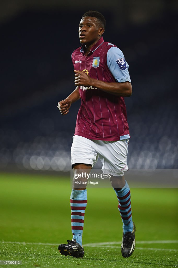 Riccardo Calder of Villa in action during the Barclays U21 Premier League match between West Bromwich Albion and Manchester United at The Hawthorns on October 16, 2014 in West Bromwich, England.
