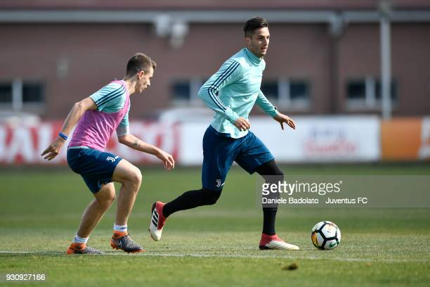 Riccardo Capellini and Rodrigo Bentancur during a Juventus training session at Juventus Center Vinovo on March 12 2018 in Vinovo Italy