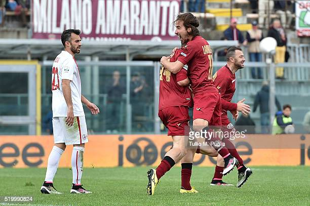 Riccardo Cazzola of Livorno is celebrated after scoring the equalizing goal during the Serie B match between AS Livorno and FC Bari at Stadio Armando...