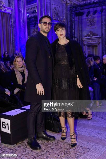Riccardo Di Pasquale and Roberta Giarrusso attend the Simonetta Ravizza show during Milan Fashion Week Fall/Winter 2018/19 on February 24 2018 in...