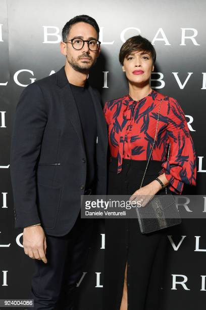 Riccardo Di Pasquale and Roberta Giarrusso attends Bulgari FW 2018 Dinner Party on February 23 2018 in Milan Italy