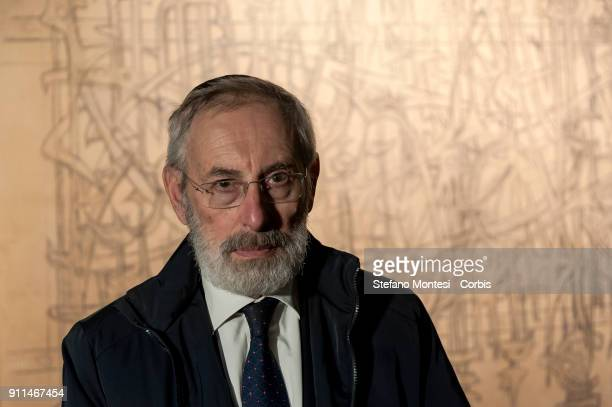 Riccardo Di Segni Chief Rabbi of Rome at the Jewish Museum of Rome poses in front of the sketch for the internal gate of the Fosse Ardeatine created...