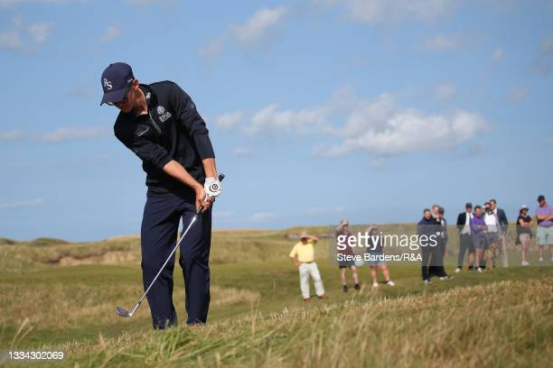 Riccardo Fantinelli of Italy chips onto the 14th green during the Final of the R&A Boys Amateur Championship at Royal Cinque Ports Golf Club on...