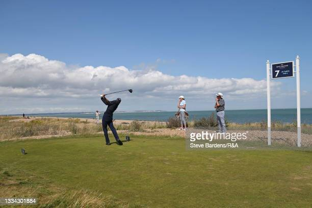Riccardo Fantinelli of Italy drives off the 7th tee during the Final of the R&A Boys Amateur Championship at Royal Cinque Ports Golf Club on August...
