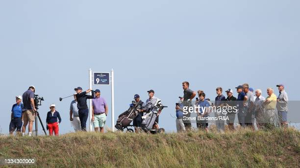 Riccardo Fantinelli of Italy drives off the 9th tee during the Final of the R&A Boys Amateur Championship at Royal Cinque Ports Golf Club on August...