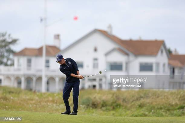 Riccardo Fantinelli of Italy plays an approach shot on the 2nd hole during the Final of the R&A Boys Amateur Championship at Royal Cinque Ports Golf...