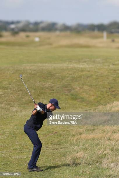 Riccardo Fantinelli of Italy plays an approach shot on the 3rd hole during the Final of the R&A Boys Amateur Championship at Royal Cinque Ports Golf...
