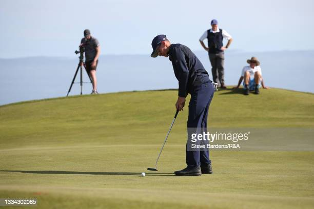 Riccardo Fantinelli of Italy putts on 14th green during the Final of the R&A Boys Amateur Championship at Royal Cinque Ports Golf Club on August 15,...