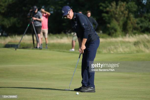 Riccardo Fantinelli of Italy putts on the 19th green during the Final of the R&A Boys Amateur Championship at Royal Cinque Ports Golf Club on August...