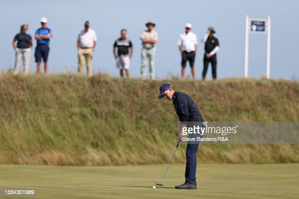 Riccardo Fantinelli of Italy putts on the 8th green during the Final of the R&A Boys Amateur Championship at Royal Cinque Ports Golf Club on August...