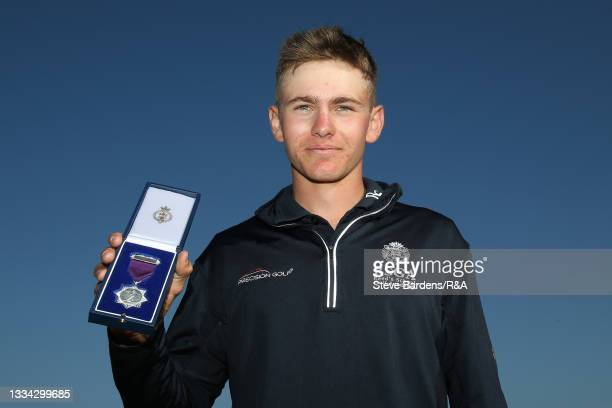 Riccardo Fantinelli of Italy with the R&A Boys Amateur Championship runners up medal after the Final of the R&A Boys Amateur Championship at Royal...