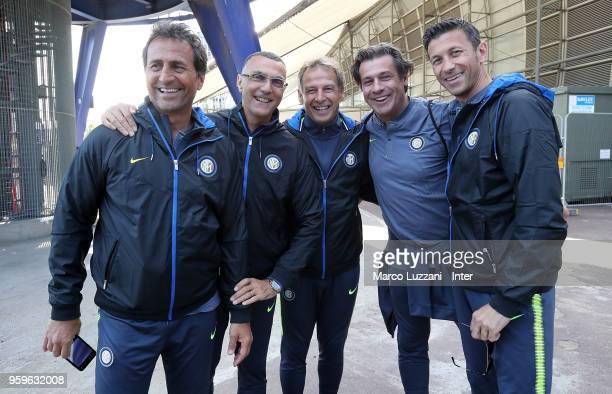 R Riccardo Ferri Giuseppe Bergomi Jurgen Klinsmann Nicola Berti and Massimo Paganin of Inter Forever visit The O2 on May 17 2018 in London England