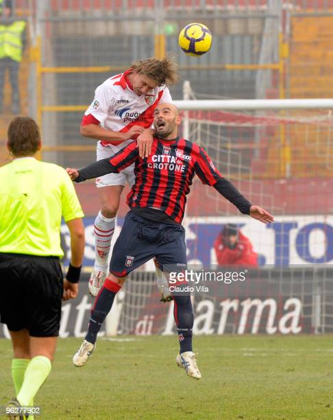 Riccardo Fissore of AC Mantova competes for the ball with Ciro Ginestra of FC Crotone during the Serie B match between Mantova and Crotone at Danilo...