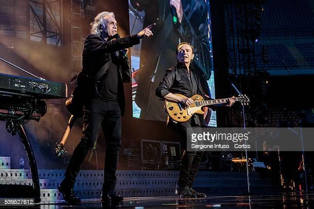 June 10: Riccardo Fogli and Dodi Battaglia of Italian pop band Pooh perform a sold out show at San Siro Stadium on June 10, 2016 in Milan, Italy.