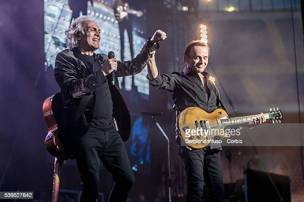 Riccardo Fogli and Dodi Battaglia of Italian pop band Pooh perform a sold out show at San Siro Stadium on June 10 2016 in Milan Italy