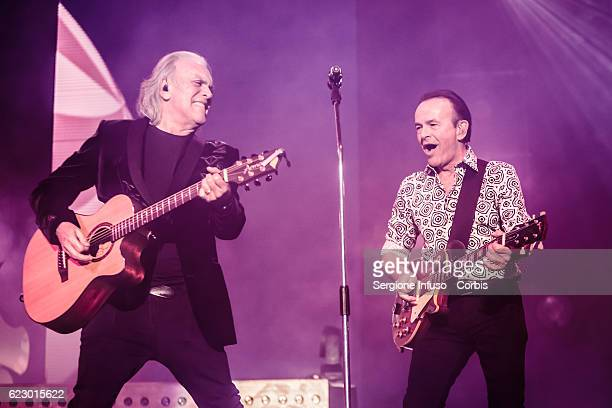 Riccardo Fogli and Dodi Battaglia of Italian pop band Pooh perform on stage on November 11 2016 in Milan Italy