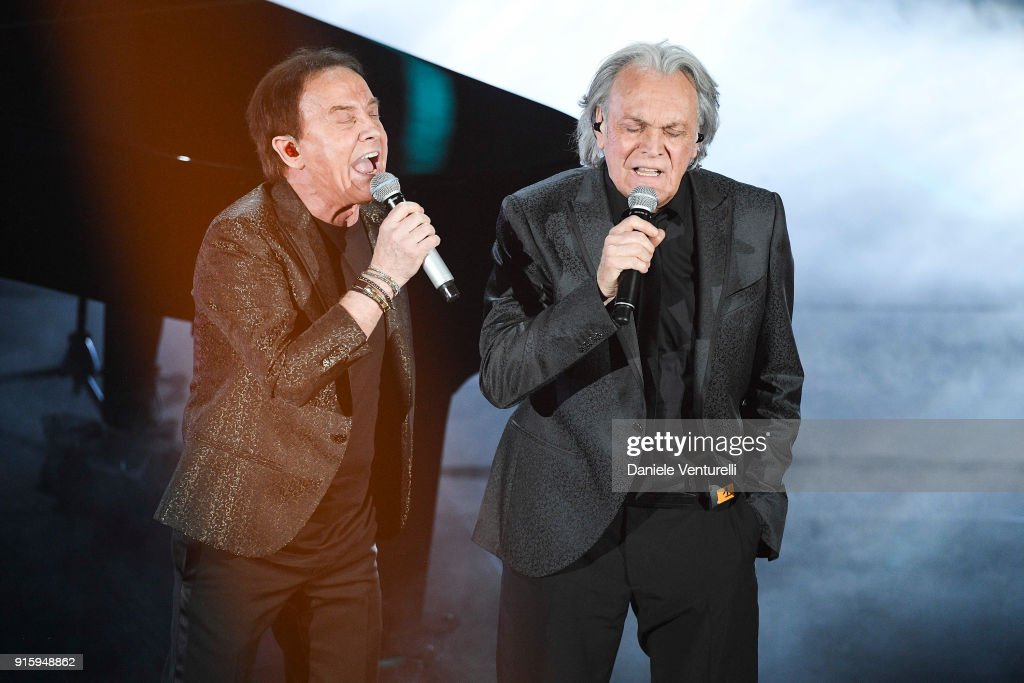 Riccardo Fogli and Roby Facchinetti attend the third night of the 68. Sanremo Music Festival on February 8, 2018 in Sanremo, Italy.