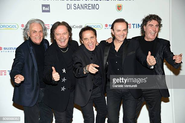 Riccardo Fogli Red Canzian Roby Facchinetti Dodi Battaglia and Stefano D'Orazio of POOH attend a photocall at 66 Sanremo Festival on February 11 2016...
