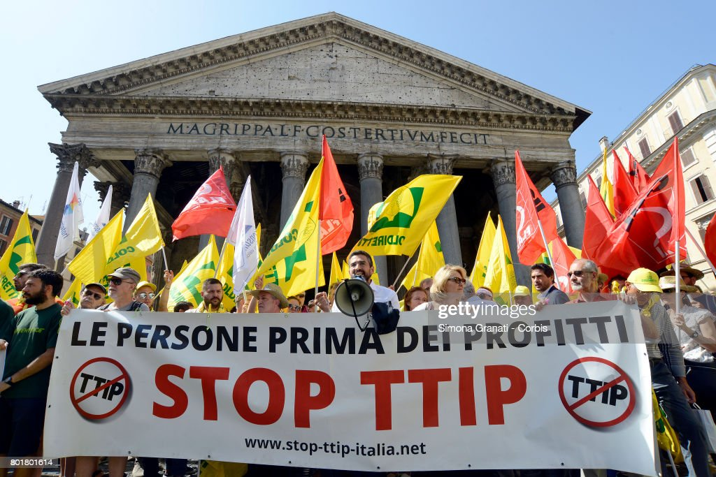 Anti-CETA Protests Held In Front Of The Pantheon : News Photo