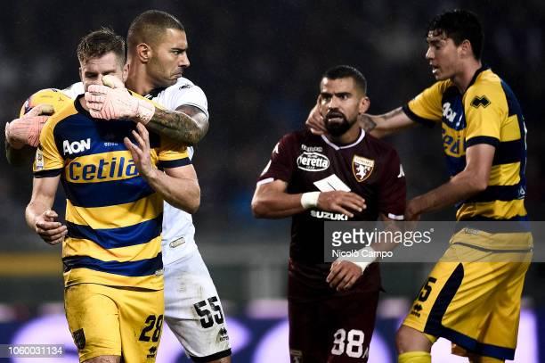 Riccardo Gagliolo of Parma Calcio and Luigi Sepe of Parma Calcio react during the Serie A football match between Torino FC and Parma Calcio Parma...