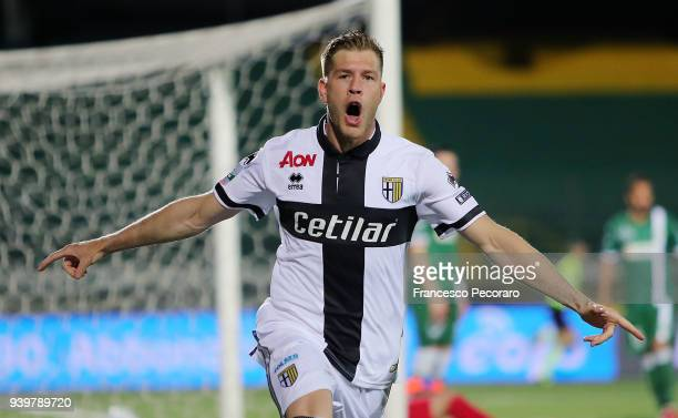 Riccardo Gagliolo of Parma Calcio celebrates after scoring the 01 goal during the Serie B match between US Avellino and Parma Calcio at Stadio...