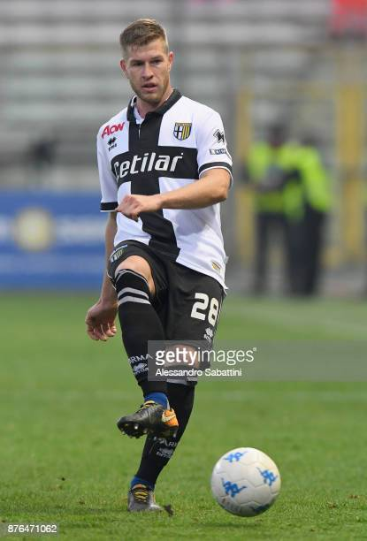 Riccardo Gagliolo of Parma Calcio in action during the Serie B match between Parma Calcio and Ascoli Picchio at Stadio Ennio Tardini on November 18...