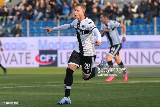 Riccardo Gagliolo of Parma FC celebrates after scoring a goal during the Serie A match between Parma Calcio and Udinese Calcio at Stadio Ennio...