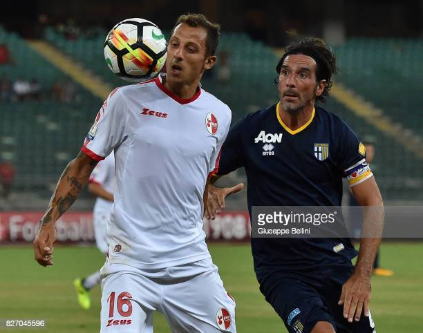 Riccardo Improta of AS Bari and Alessandro Lucarelli of Parma Calcio in action during the TIM Cup match between AS Bari and Parma Calcio at Stadio...