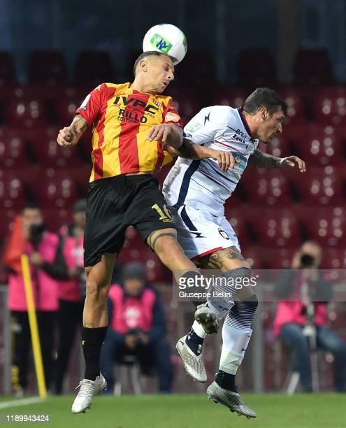 Riccardo Improta of Benevento Calcio and Mattia Mustacchio of Crotone FC in action during the Serie B match between Benevento Calcio and Crotone FC...