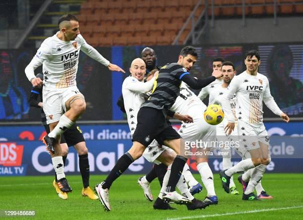 Riccardo Improta of Benevento Calcio scores an own goal during the Serie A match between FC Internazionale and Benevento Calcio at Stadio Giuseppe...