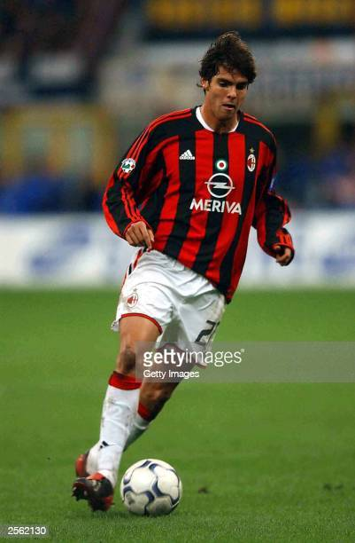 Riccardo Kaka of Milan in action during the Serie A match between Internazionale and AC Milan at the San Siro October 5 2003 in Milan Italy