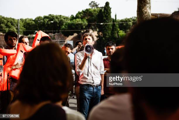 Riccardo Magi Radicali Italiani National Secretary attends a rally in Rome Italy on June 11 2018 against Italian government decision to block ports...