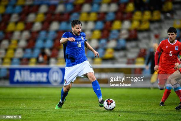 Riccardo Marchizza of Italy controls the ball during the UEFA Euro Under 21 Qualifier match between Luxembourg U21 and Italy U21 at Stade Municipal...