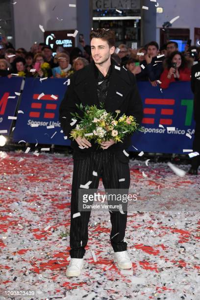 Riccardo Marcuzzo aka Riki attends the opening red carpet at the 70° Festival di Sanremo at Teatro Ariston on February 03, 2020 in Sanremo, Italy.